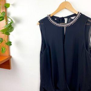 Rebecca Taylor Rhinestone Collar Black Blouse 4